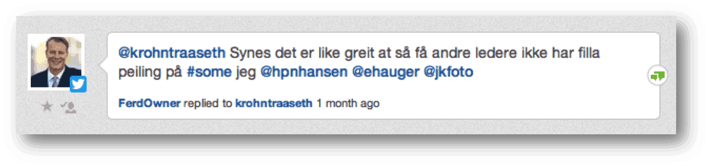 twitter kommentar Bedriftsledere er i utakt med markedet sitt