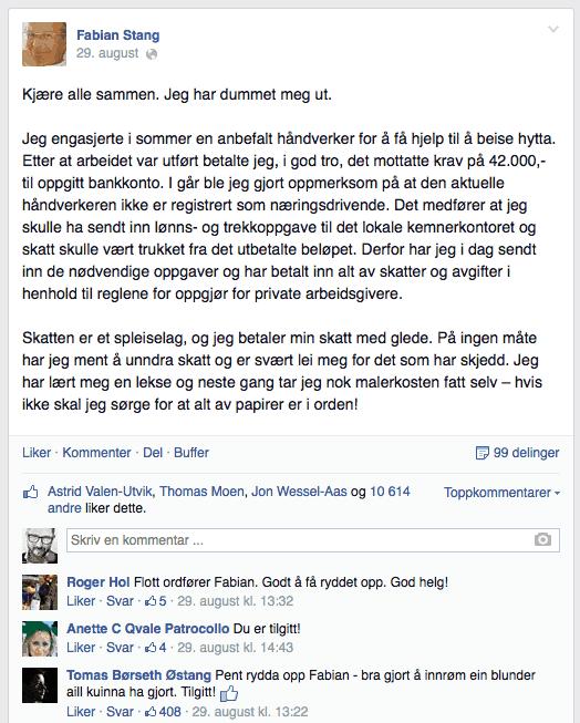Facebook-Fabian-Stang-dummet-meg-ut