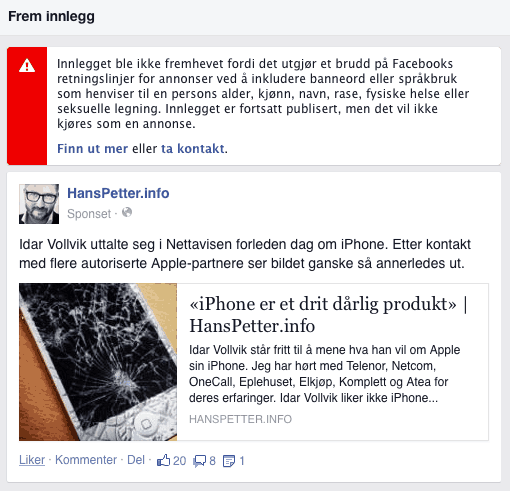 Facebook-promotert-fremme-post-iphone-drit-produkt