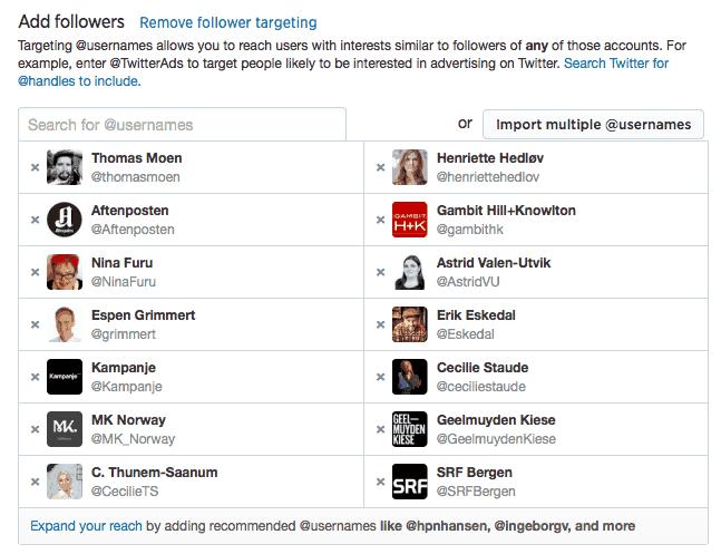 Twitter-annonsering-basert-followers