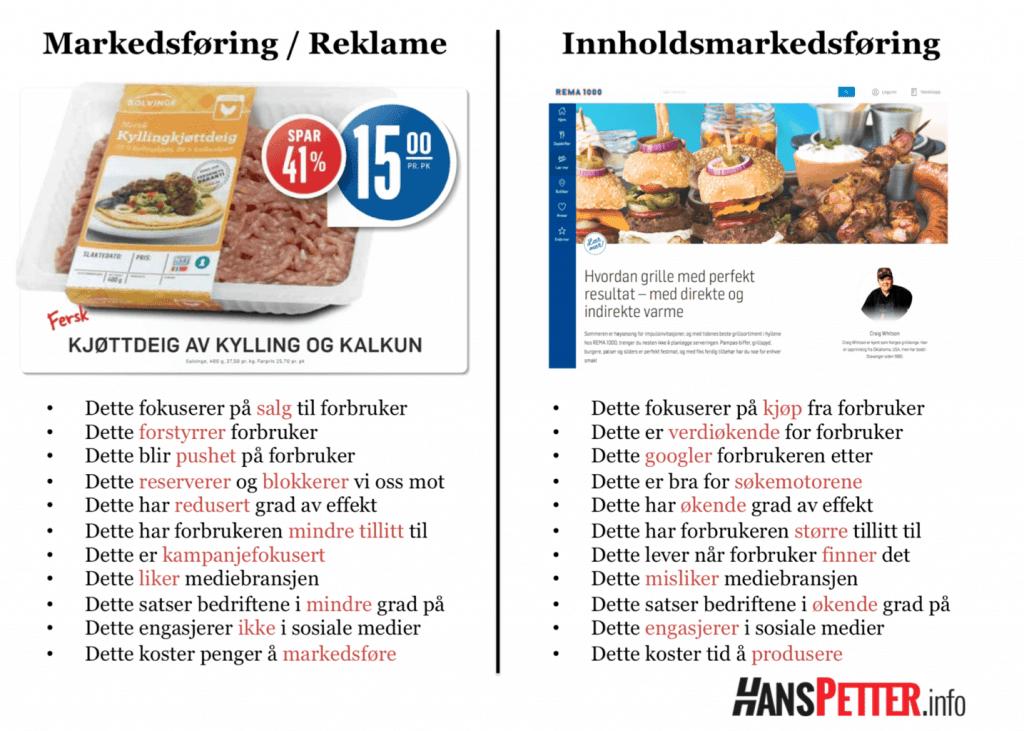 Forskjellene på markedsføring og innholdsmarkedsføring. Klikk på bildet for større versjon.