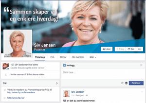 Facebook-Siv-Jensen-Fanbooster