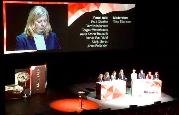 Paneldebatten fra #aptech-konferansen, ledet av Trine Eilertsen.