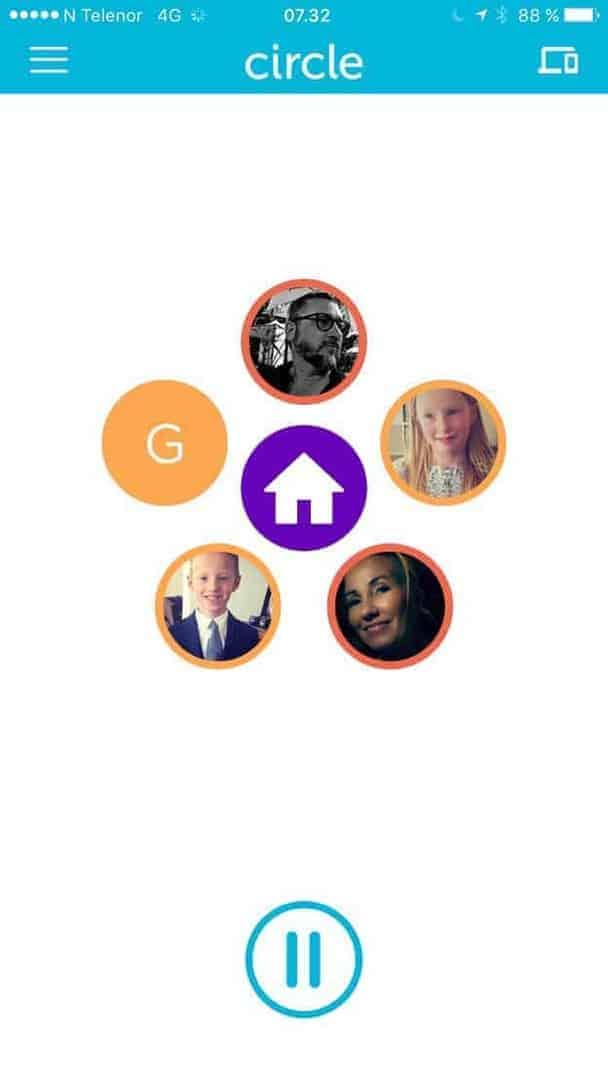 * Når Circle er tilkoblet nettverket hjemme, kan du lage profiler til hvert familiemedlem, og legge til enhetene til hver medlem.